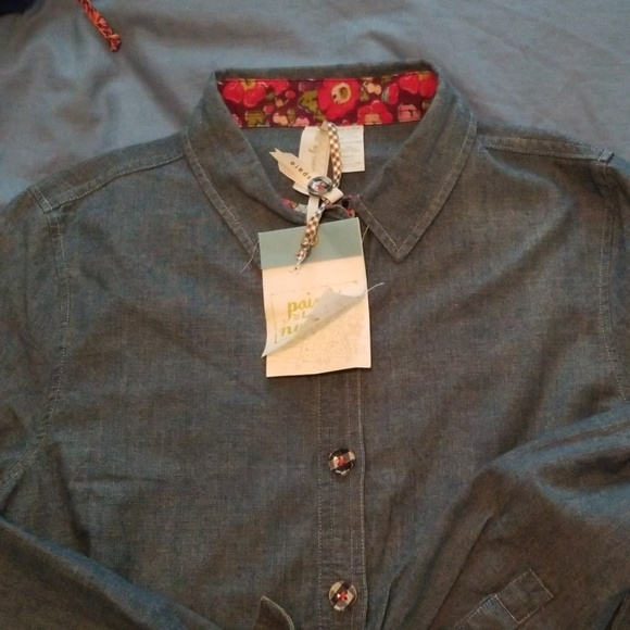 Matilda Jane Tops - Matilda Jane Paint by Numbers S Button Up NWT